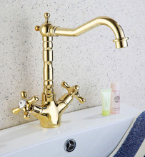 Golden Brass Deck Mount Bathroom Kitchen Faucet Single Handle 360 Rotate Basin Sink Faucet Hot and Cold Water Mixer Tap zsf096 360 rotate solid brass pull out spray faucet chrome brass kitchen faucet cold and hot water mixer tap single handle two spouts