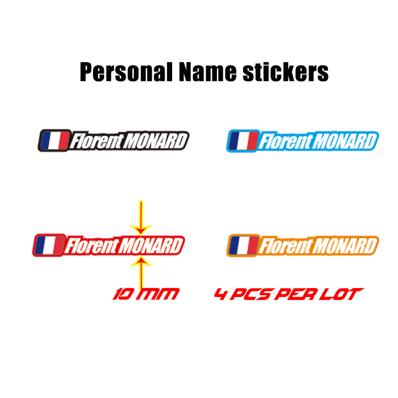 4x personalized name flag sticker bike cycle cycling helmet frame bicycle