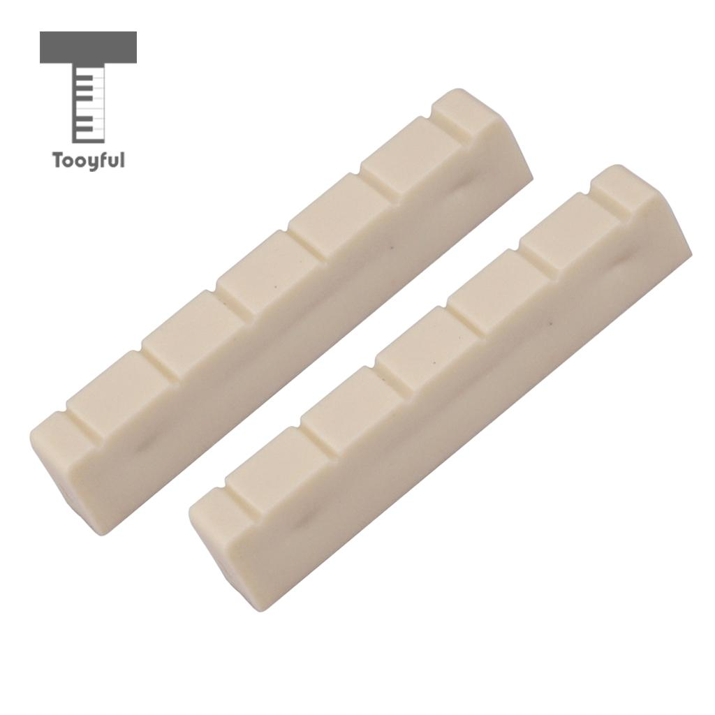 Tooyful 2Pcs Plastic 48mm Classical Classic Guitar Nuts 6 String Bone Slotted Nut Parts Replacements