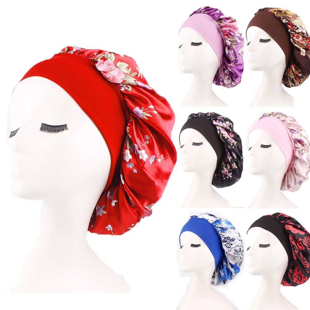 New Elegant Women Silk Night Sleep Cap Hair Bonnet Hat Head Cover Satin Wide Adjust Elastic Band