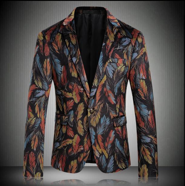 Vogue Mens floral print slim fit suit One button dress party Coat Jackets Blazer B12