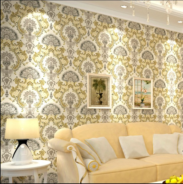 Retro luxury european-style non-woven wallpaper bedroom living room TV setting wall paper Embroidery film and television wall european non woven wallpaper wall stickers bedroom living room tv setting wall paper wallpaper the sand classic stripes european