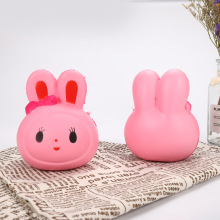 Cute Pink Bunny Head Funny PU Slow Rebound Toy Doll Gift Cartoon Animal Squeeze Cream Scent Children Puzzle Novelty