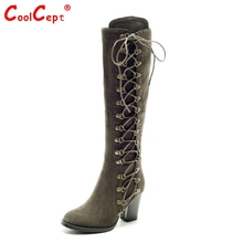 High Quality Sexy Winter Boots Women Thigh High Boots New Lace Up Knee Corium Boot High Heel Retro Knight Boots