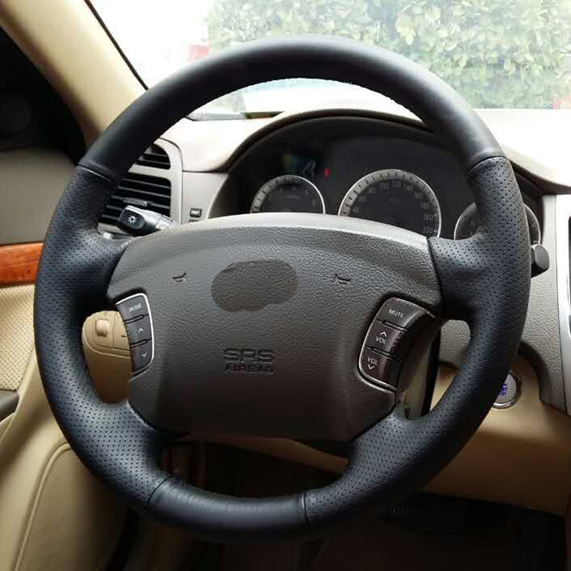 Free Shipping High Quality cowhide Top Layer Leather handmade Sewing Steering wheel covers protect For Hyundai Sonata NF