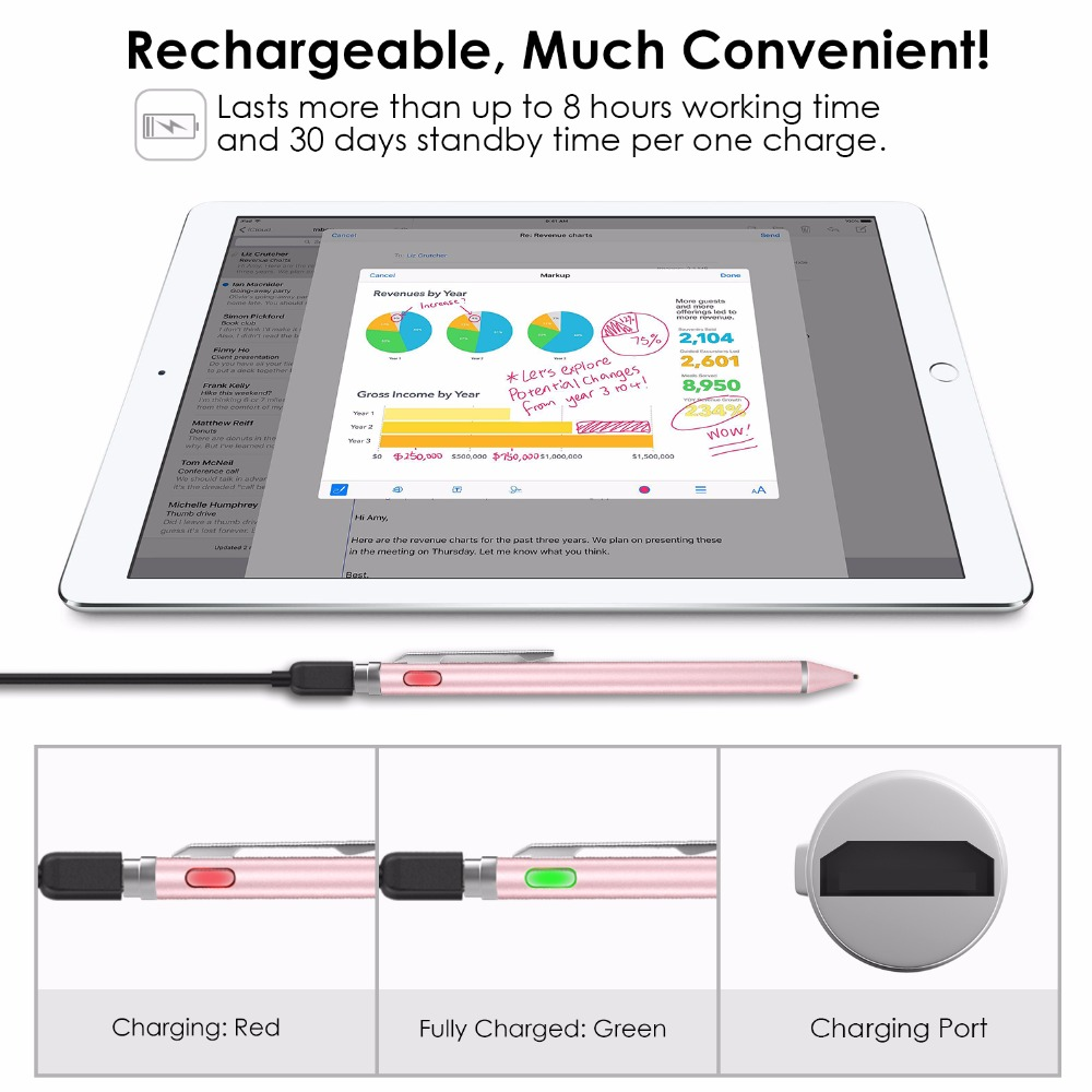 MoKo Universal Active Stylus, 2 in 1 High Precision Sensitivity 1.5mm Capacitive Pen, Metal Stylus Pen for Touch Screen Devices
