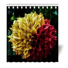Beautiful Two Color Dahlia Red Yellow Shower Curtain Printing Waterproof Mildewproof Polyester Fabric Bath