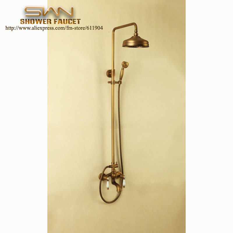 Antique Brass Exposed Wall Mount Bath Faucet Rain Shower Head Bathroom Shower Faucets Handheld Shower Set antique brass bathroom rain shower set faucet wall mount mixer tap with handheld shower head