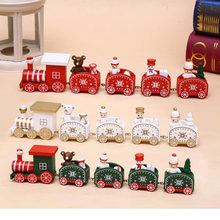 1PCS Christmas Gifts For Children,Mini Wooden Train Christmas Decoration For Home Kindergarten Festive Decor New Year's Supplies(China)