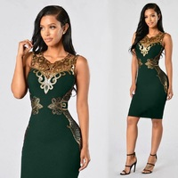 S 3XL Plus Size Women Summer Dress Sexy Party V Collar Sleeveless High Quality Lace Applique