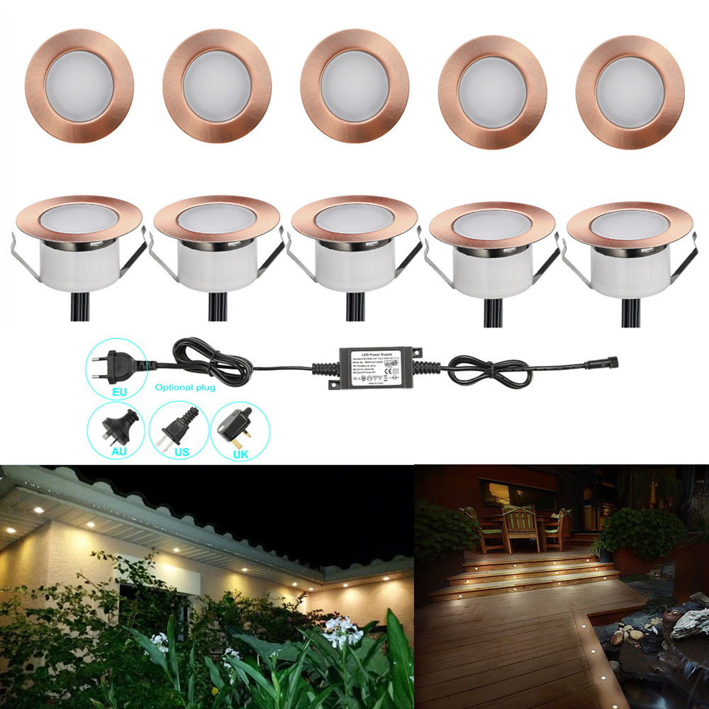 10pcs lot 47mm copper warm white outdoor garden yard terrace kickboard recessed kitchen led deck rail step stair soffit lights