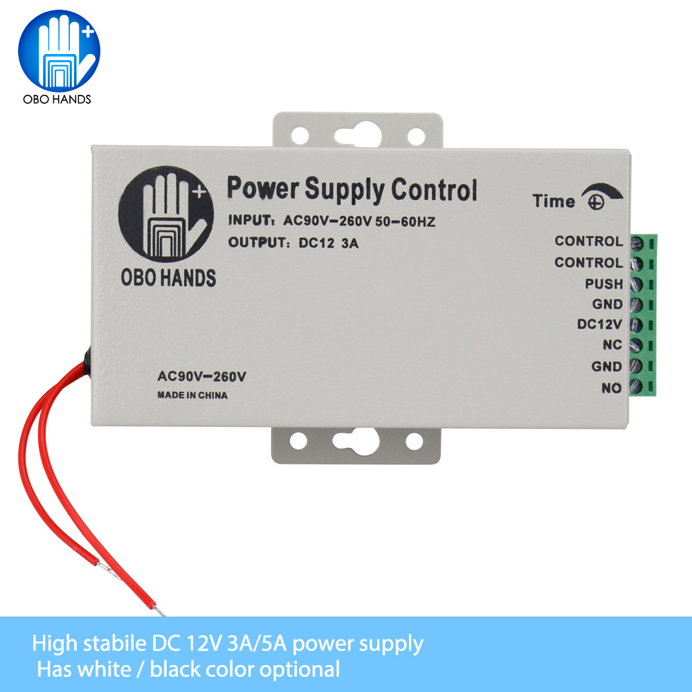 OBO HANDS 12VDC Access Control Power Supply Switch 3A/5A Time Delay Adjustable AC90V-260V Input NO/NC Output For 2 Electric Lock