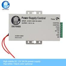 OBO HANDS fuente de alimentación con interruptor de Control de acceso, 12VDC, 3A/5A, retardo de tiempo, entrada de AC90V 260V ajustable, salida NO/NC para 2 cerradura eléctrica