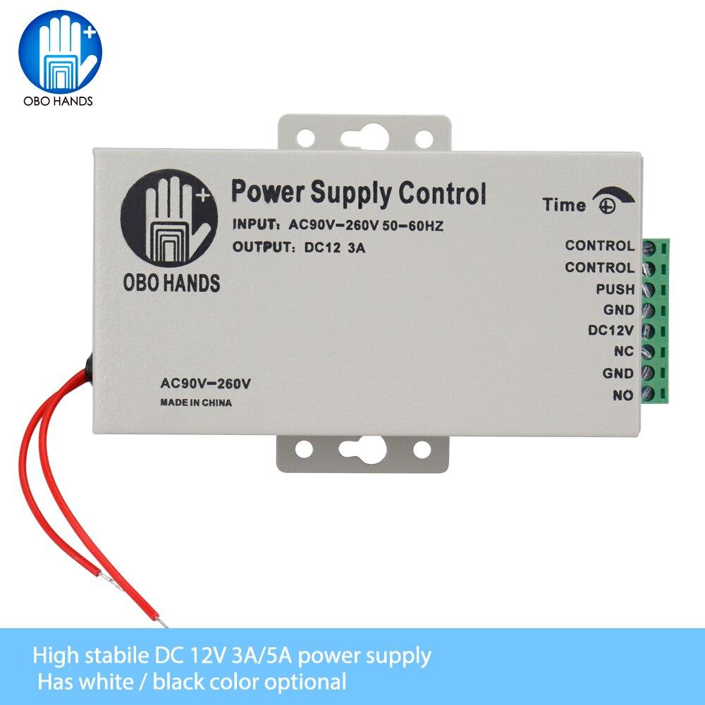 OBO MAINS 12VDC Alimentation De Contrôle D'accès Interrupteur 3A/5A Temps Retard Réglable AC90V-260V Entrée NO/NC Sortie pour 2 Serrure Électrique