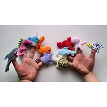 10PCS Cartoon Aquatic Creatures Animal Velvet Finger Puppet Finger Toy Finger Doll Baby Cloth Educational Hand Toy Story DSP04
