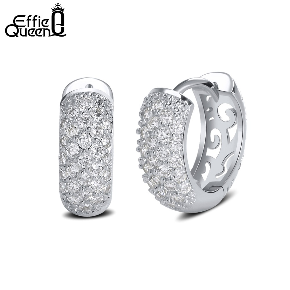 Effie Queen Trendy Zircon Pave Setting Stud øredobber Hollow Design Mønster Bryllupskone Gold Color Earring DDE22