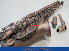 Eb Alto Saxophone Red Antique Surface High F# With-Black Pearl Buttons