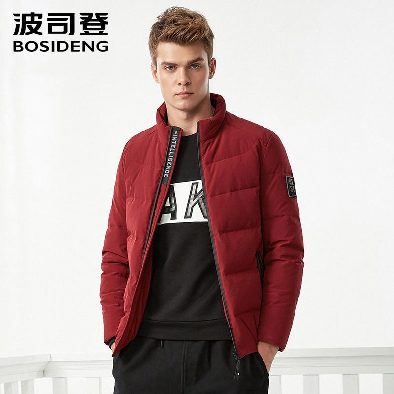 BOSIDENG جديد سترة شتوية للرجال أسفل معطف الشتاء منتظم الطبقة العليا أبلى إلكتروني طباعة بلاكيت الوقوف طوق B70141101-في جواكت قصيرة من ملابس الرجال على  مجموعة 1