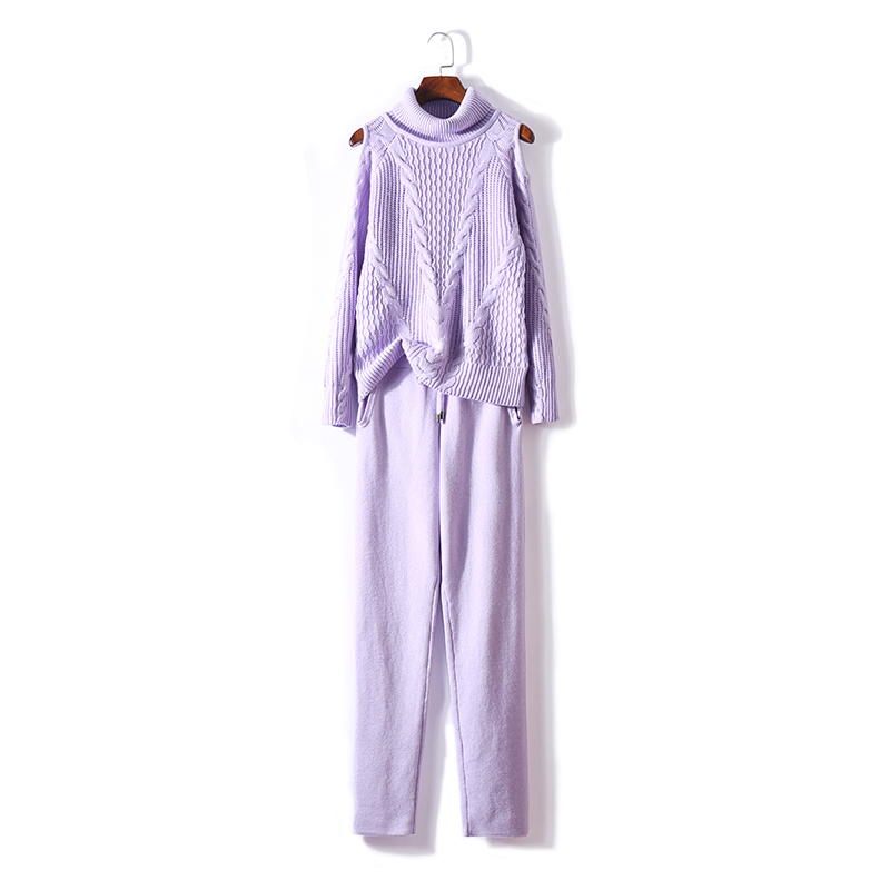 2019 Autumn New Knit Suit Woman Fashion Strapless Purple High Neck Cashmere Sweater Trousers Two Sets Of Women
