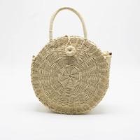 New Round Straw Beach Bag Girls Circle Rattan Messenger Bag Small Bohemian Tote Bag Women Handbags