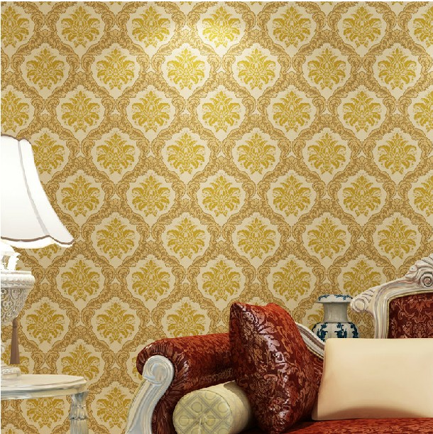 2014 Home deco vinyl wallpaper for room designer golden wall paper ...