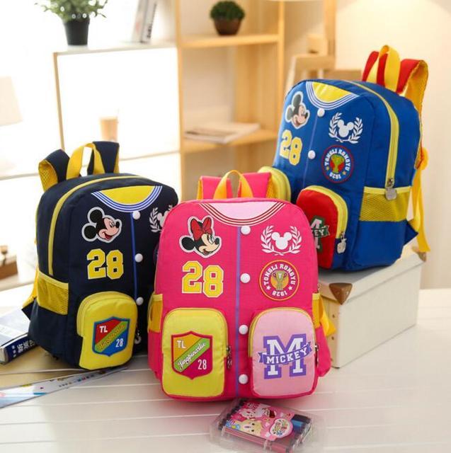 b595cfb5ba5c Bolso de Escuela los niños Mochila de Dibujos Animados de Mickey minnie  Bebé Niños Kindergarten Hombro