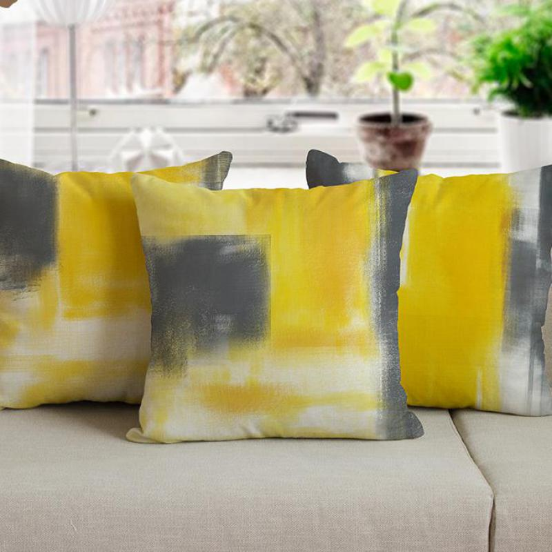 Modern Simple Yellow And Gray Cushion Creative Oil Painting Graffiti Abstract Personality Sofa Throw Pillows For Office Chair