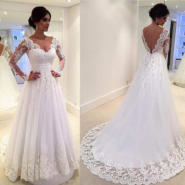 White Vintage Wedding Gowns Lace Long Sleeve Open Back A Line Sexy