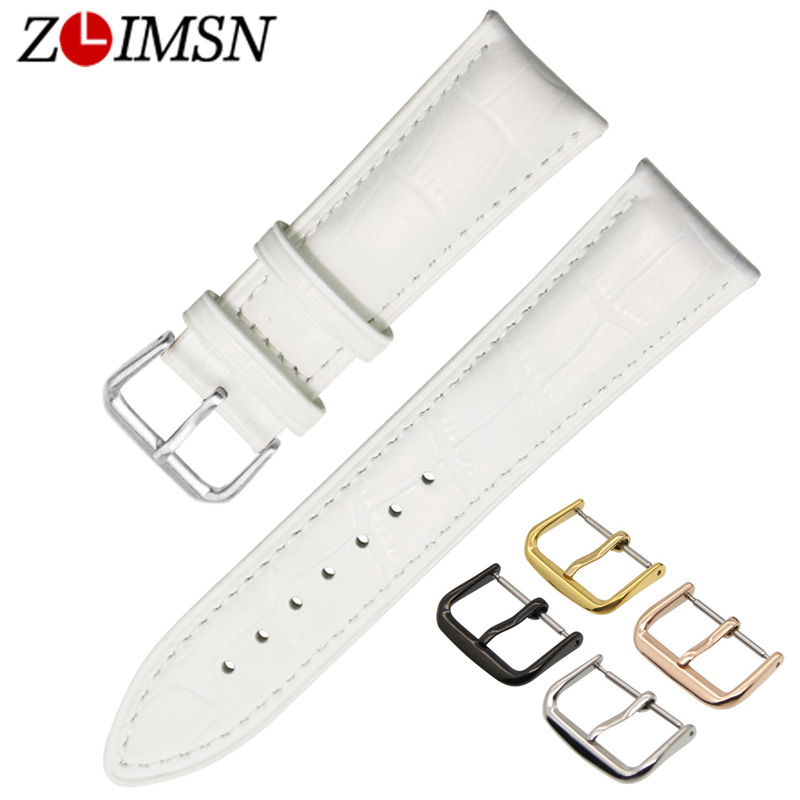 ZLIMSN White Genuine Leather Watch Strap 16 18 20 22mm Stainless Steel Watch Buckle Four Colors Clasp for Ladies Mens Watchbands zlimsn watch band buckles stainless steel leather straps buckle watchbands 4 colors 16 18 20 22mm watches accessories