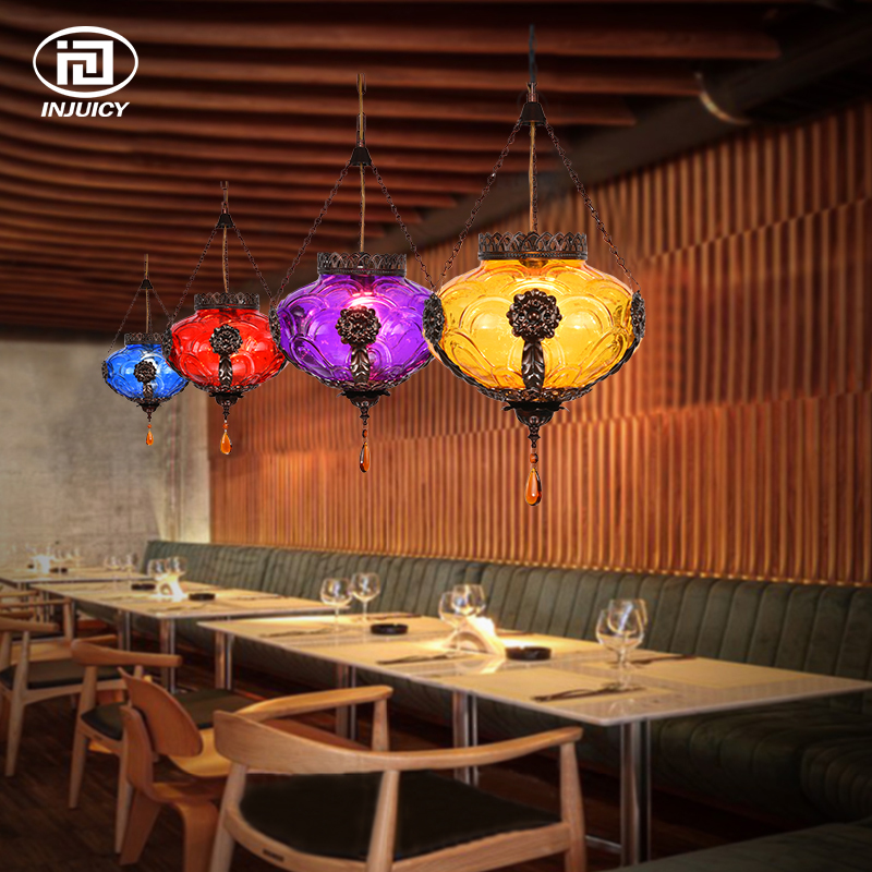 Southeast Asia Vintage LED Pendant Lamp Coffee Retro Stained  Colorful Glass Art Ceiling Light Coffee Bars Decorative Lighting