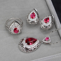 ZOURU Brand High Quality Hot White Gold Plated Waterdrop CZ Stone Paved Necklace Earring Ring Set