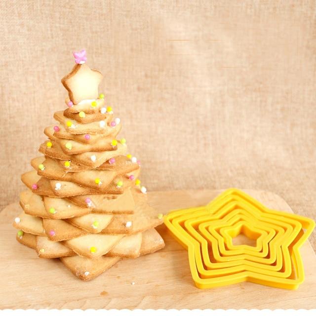 6 PCS Multi-estilo Estrela de Plástico Cortador de Biscoitos Fondant Bolo Embosser Cortador Mold Biscuit Fabricante de Cozinha Forma de Árvore de Natal