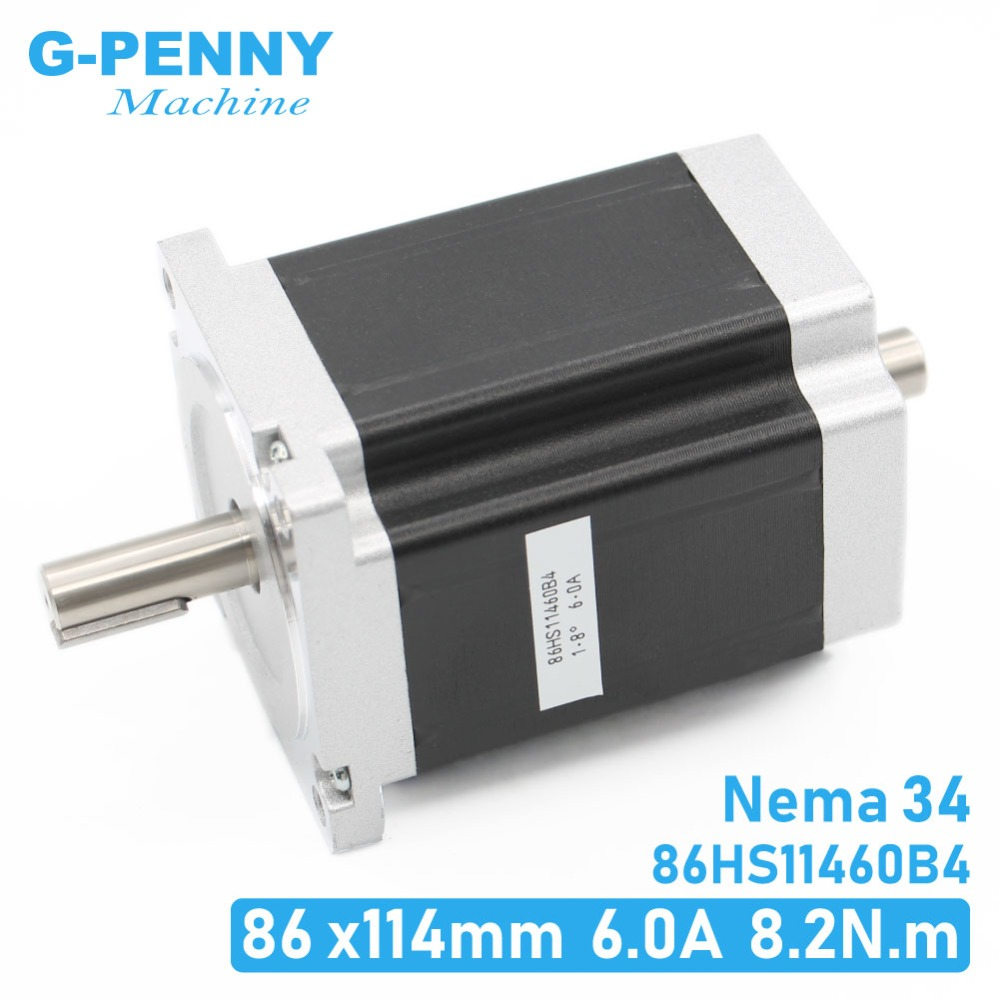 Шаговый двигатель NEMA 34 с ЧПУ 86x114 мм, двойной вал 8,2 N.m 6A, шаговый двигатель 1172Oz-in для гравировального станка с ЧПУ и 3D-принтера!