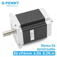 NEMA 34 CNC stepper motor 86X114mm Double Shaft 8.2 N.m 6A  stepping motor 1172Oz-in for CNC engraving machine and 3D printer!