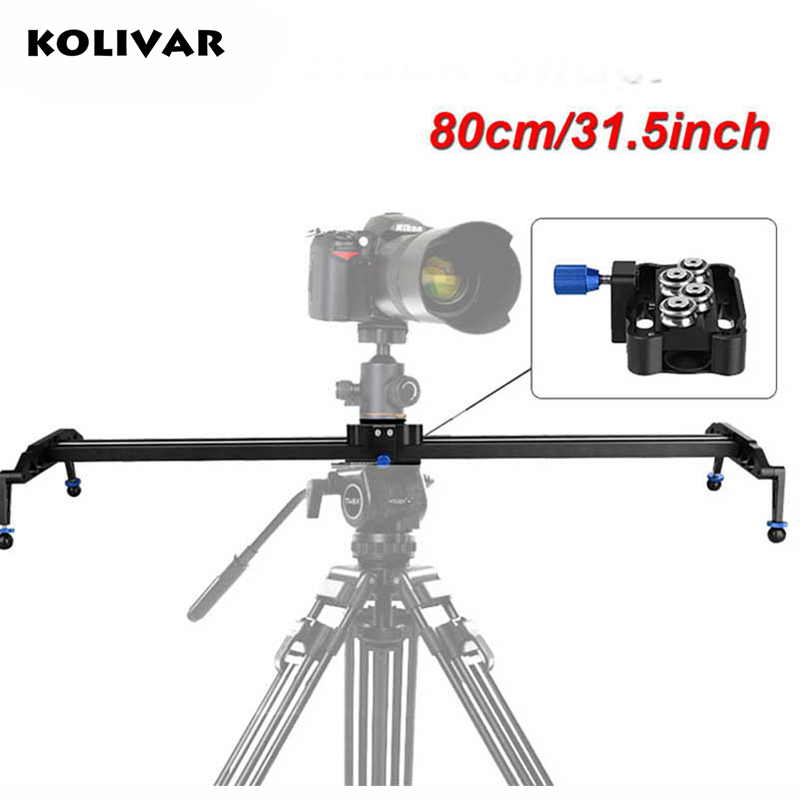 KOLIVAR 80cm DSLR Camera Track Dolly Slider Video Rail System Photograph Movie Film Making For Nikon Canon Pentax Sony Camcorder ulanzi 40cm 15in mini aluminum camera video track dolly slider rail system for nikon canon dslr camera dv movie vlogging gear