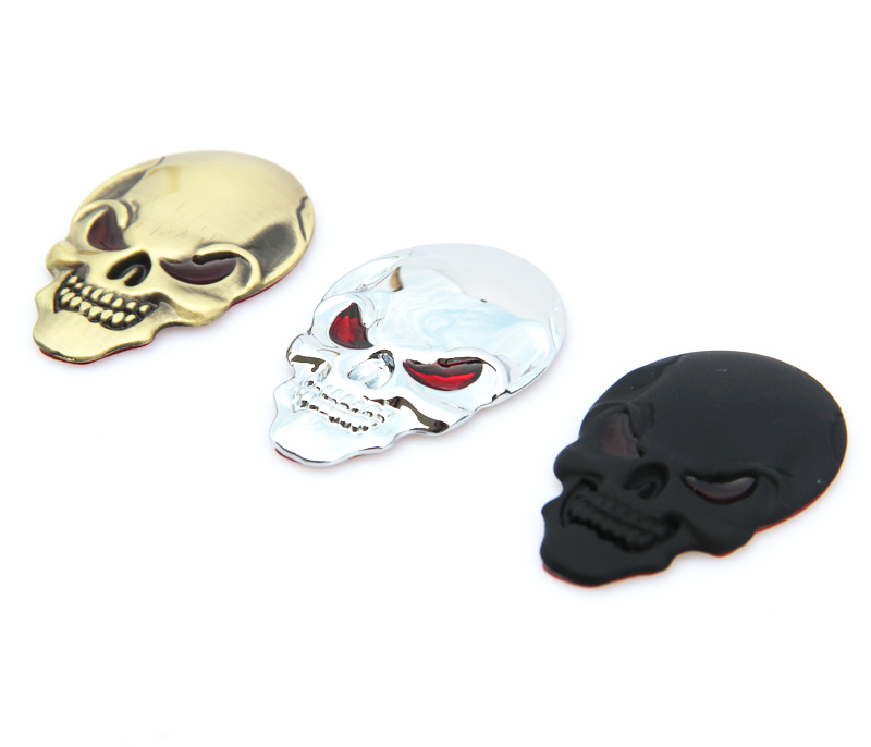 1 Pcs New 3D Metal Skull Logo Emblem Sticker Car SUV Body Exterior Cover Fender Decals DIY Car-styling 3D Stickers Стикер
