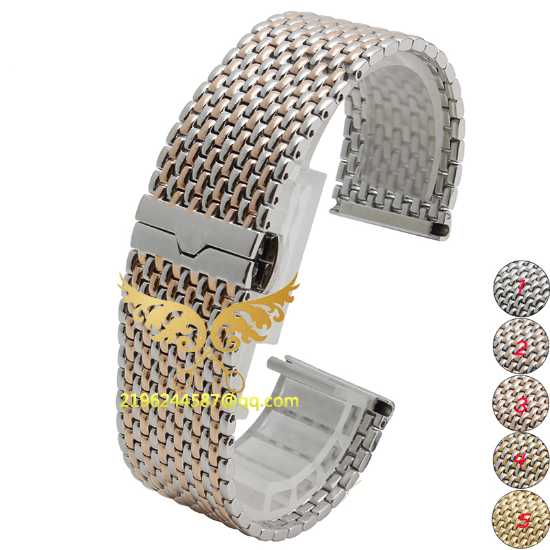 ФОТО High Quality 22mm 5 colours Stainless Steel Mesh Band Wrist Watch Strap Push Button Straight End Excellent Quality
