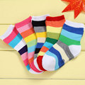 Children Socks for Kids Boys Girls Toddler Stripes Rainbow Style Baby Sock 1-5 Years New Fashion Cotton Hosiery 5 Pairs / Lot