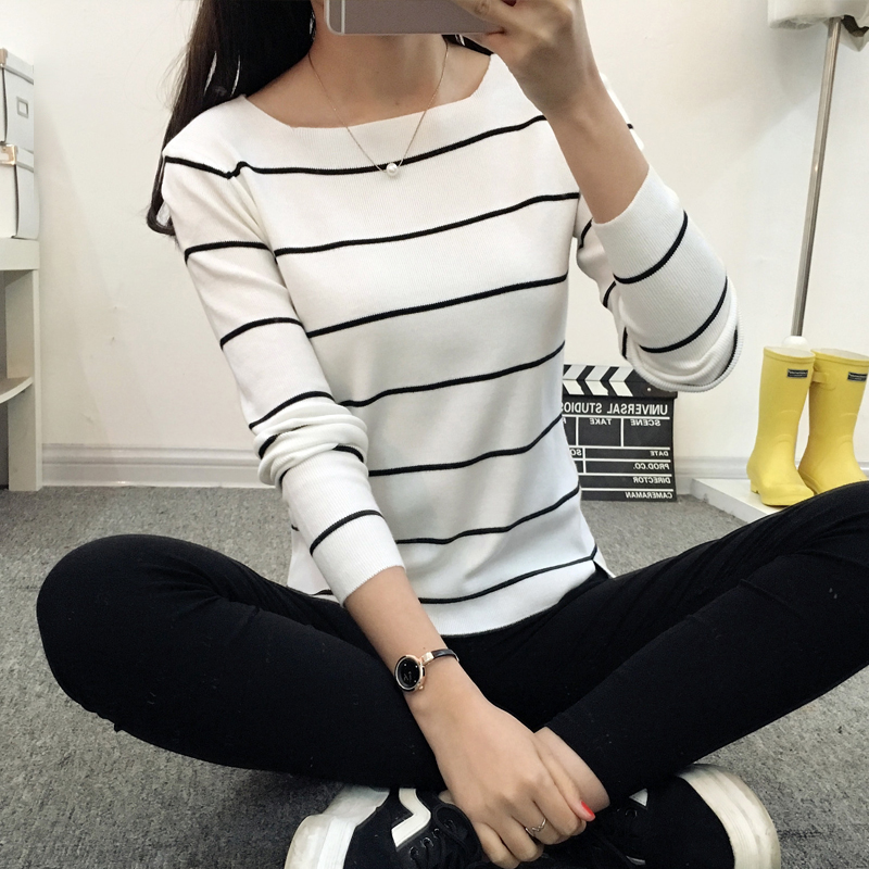 OHCLOTHING 2019 Striped collar sweater sweater autumn thin coat dress lady shirt autumn jacket female-in Pullovers from Women's Clothing
