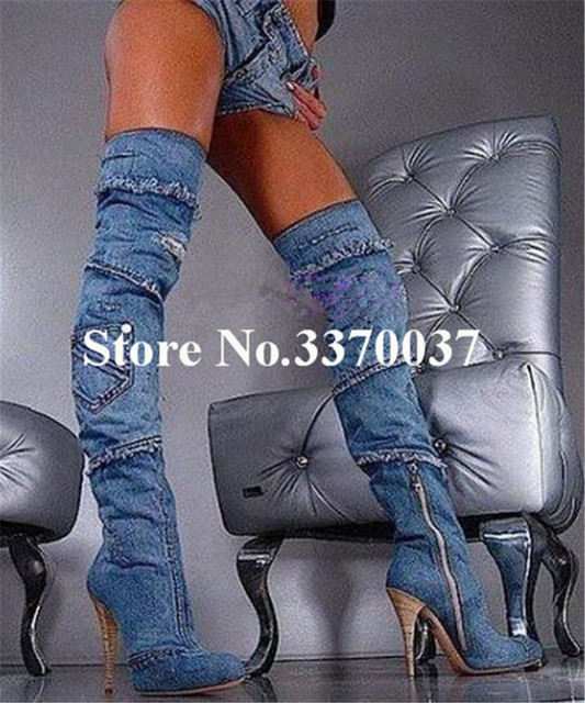 bf199eda45355 Women Sexy New Fashion Blue Denim Over Knee High Heel Boots Slim Style  Thigh Long Thin Heel Boots Nightclub Dress Shoes