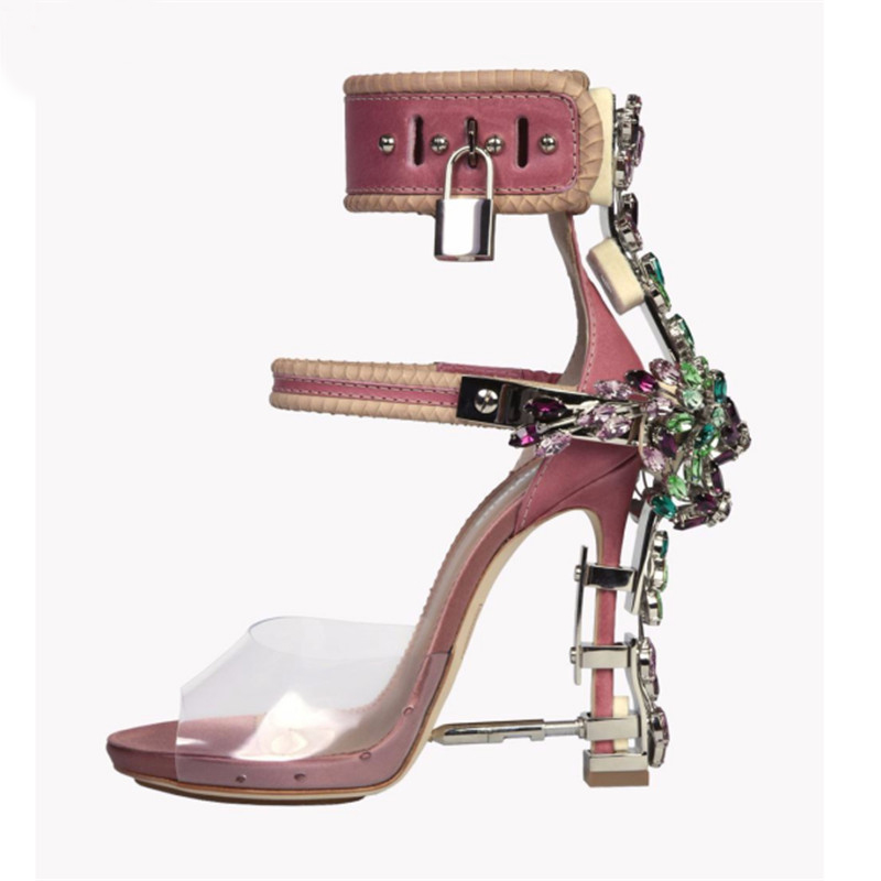 1260d8c3ae740f Luchfive Special Jeweled Heel Gladiator Sandals Women Ankle Strap Lock PVC  Clear Peep Toe Crystal Women Shoes zapatos mujer - aliexpress.com -  imall.com