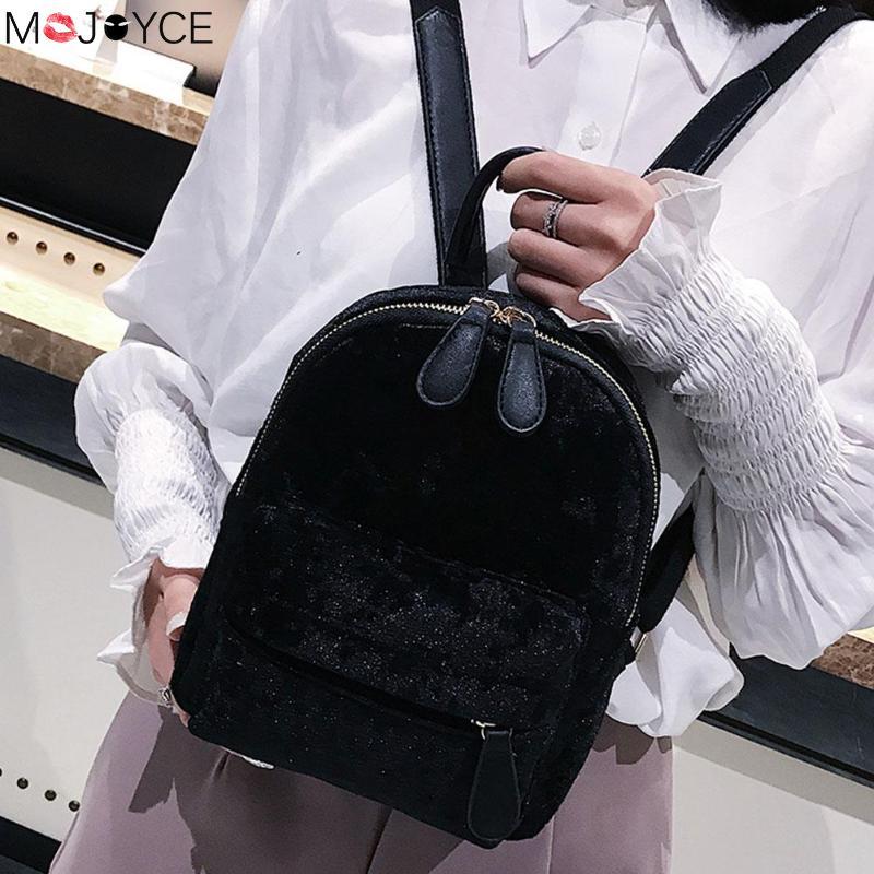 Women Soft Velvet Zipper Pure Color Backpack For Teenager Girls Small Travel Backpacks School Bags Feminina Female Shoulder Bags #2