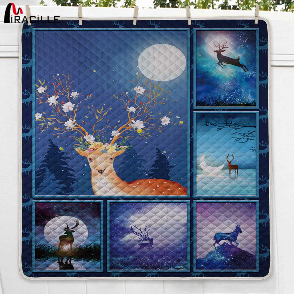 Miracille 3D Printed Deer Quilt New Modern Quilted Blanket Beautiful Scenery Comfortable Warm For Funny Bed