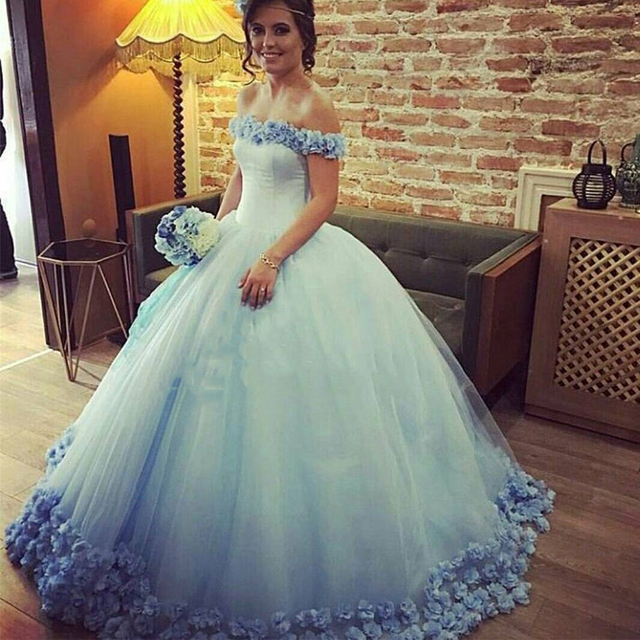 Gorgeous Sky Blue Princess Wedding Dresses Long Flowers Bridal Formal Gowns Dress Gown Lovely