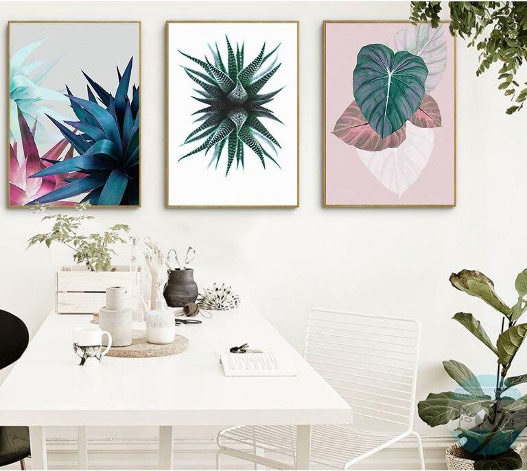 열대 단풍 캔버스 그림의 3 조각 틀 장식 그림