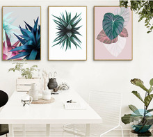 3 pieces Frameless decorative picture of tropical foliage canvas paintings