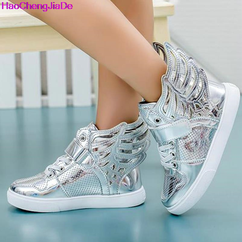 HaoChengJiaDe Free Gift Girls Luminous LED Light Shoes Angel Wings font b Baby b font Boys