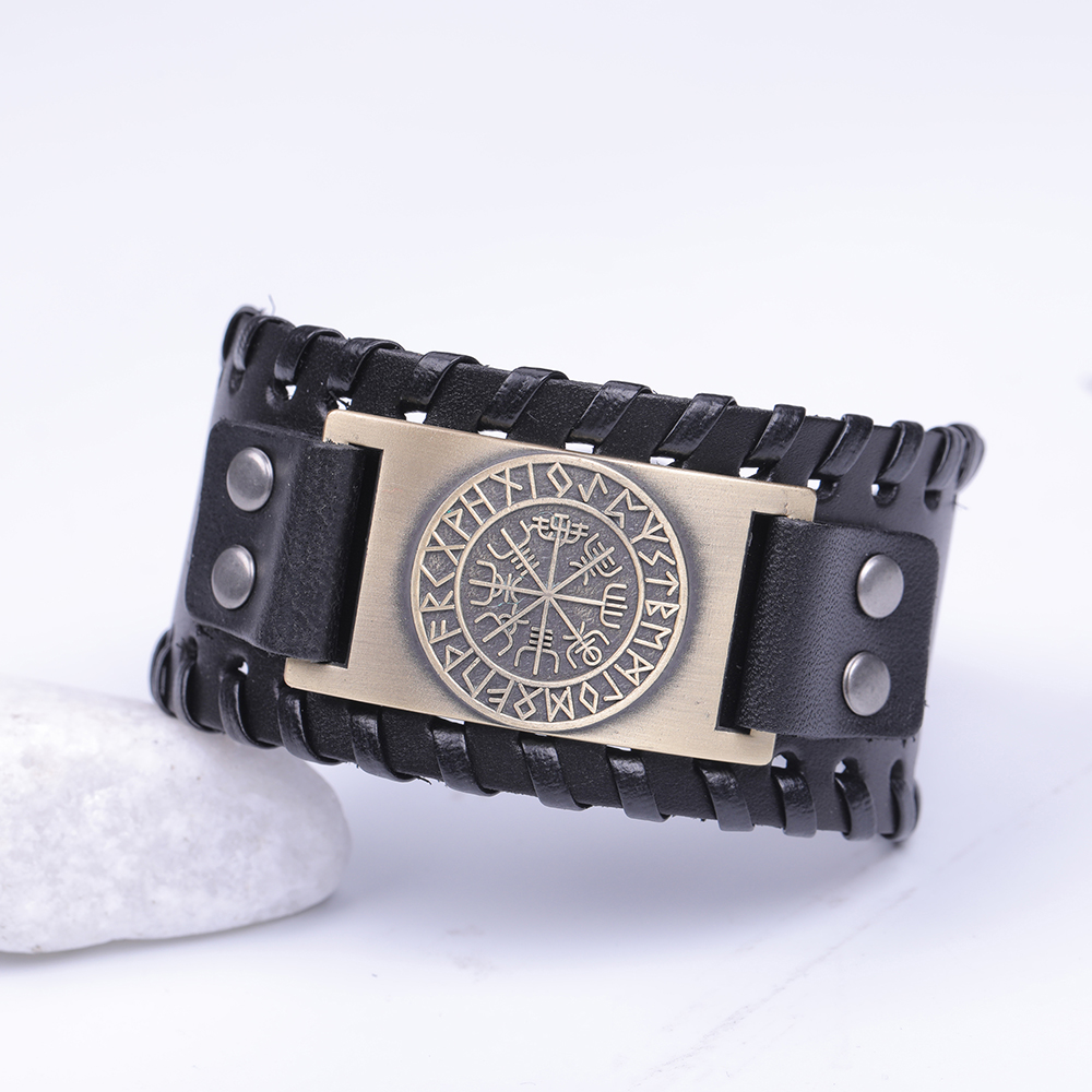 Skyrim Vintage Viking Compass Genuine Leather Bracelet for Man Bangle Nordic Runes Odin Symbol Wrap Jewelry Accessories 1