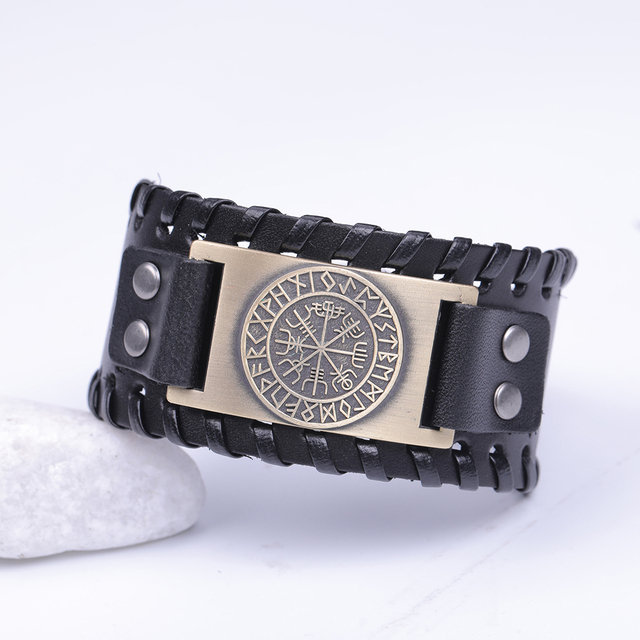 Skyrim Vintage Viking Compass Genuine Leather Bracelet for Man Bangle Nordic Runes Odin Symbol Wrap Jewelry Accessories 1