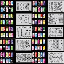 OPHIR Set11 200 Airbrush Nail Art Stencil Design 20 Template Sheets Kit Brush Paint_JFH11 colopaint body art airbrush nail art stencil set 11 with 20 stencil template design sheets 260 designs